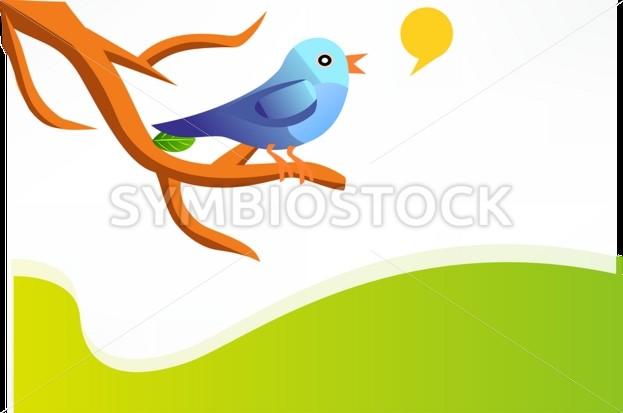 Blue Bird On a Branch Illustration - Symbiostock Express Demo